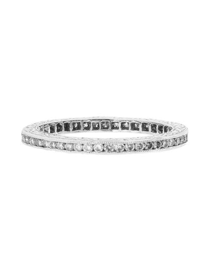 We just love these channel set rings in fancy colored diamonds: bright white diamonds are channel...