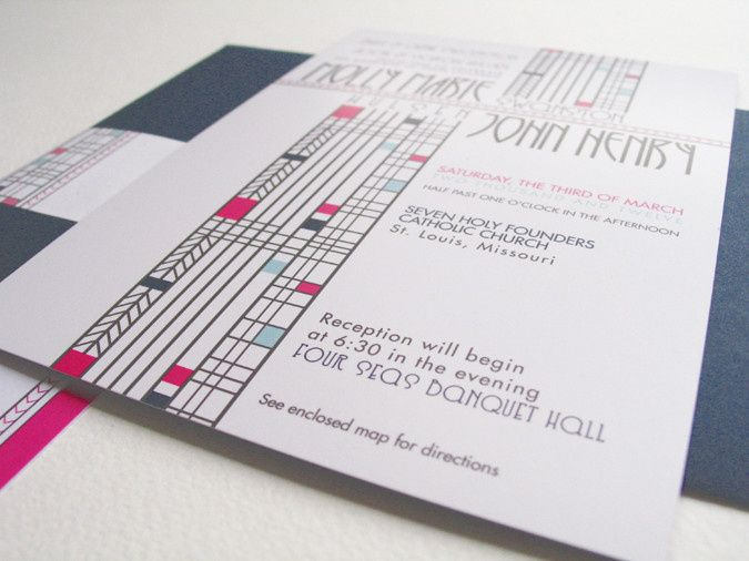 frank lloyd wright inspired wedding invitations c 4