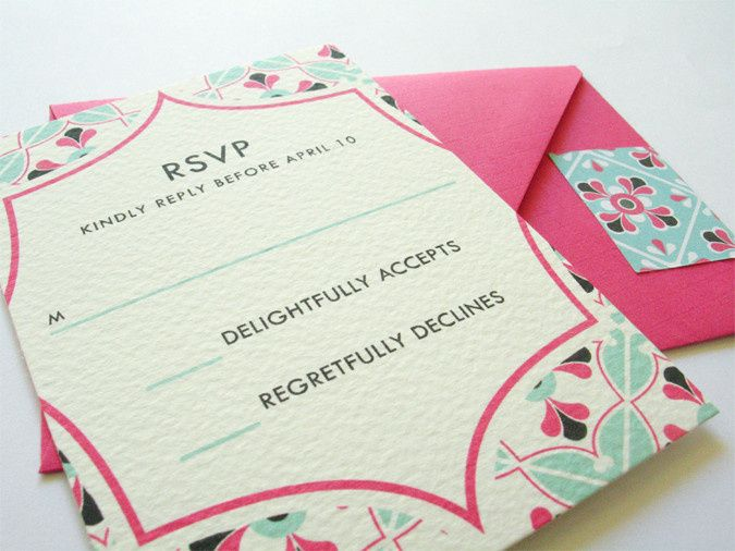 mexican tile inspired wedding invitation