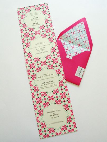 mexican tile inspired wedding invitation 4