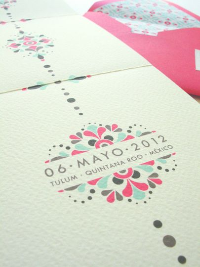 mexican tile inspired wedding invitation 5