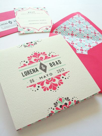 mexican tile inspired wedding invitation 9
