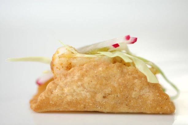 Wild Sea bass mildly seasoned served in a hand crafted mini taco