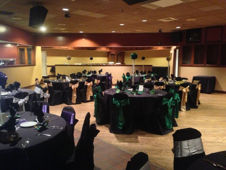 Green and black tables