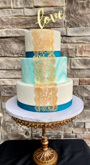 Marble teal, white, and gold
