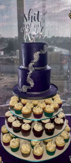 Purple and silver vanilla cake