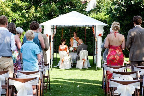 A garden setting for a civil ceremony is always a big hit for destination weddings.