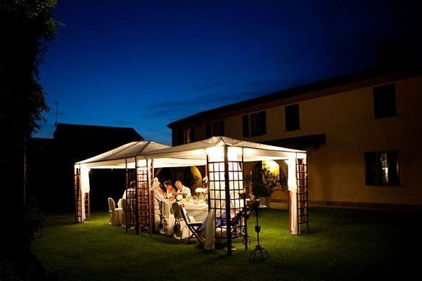 A wedding reception in the garden is a perfect way to end a beautiful day.