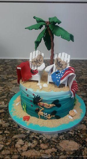 beach divers small wedding cake