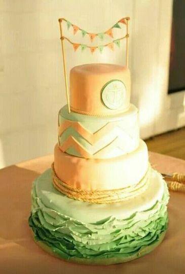 chevron peach and mint wedding cake