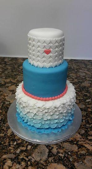 hearts and ruffle cake