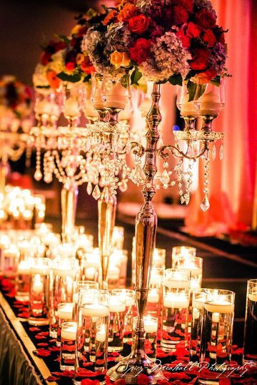 Romantic candle lit long table