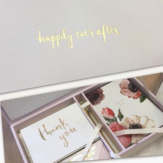 Gold-embossed thank-you cards