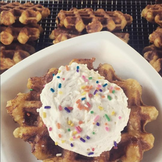 Liège waffle with House-Made Whipped Cream and Sprinkles