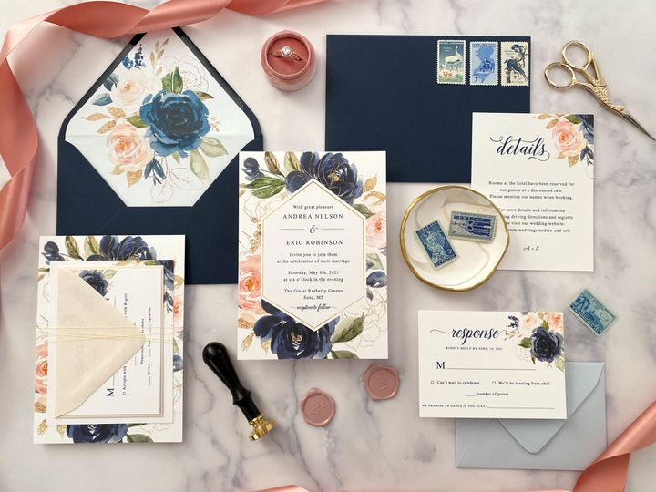 Blush and Navy invitation suit