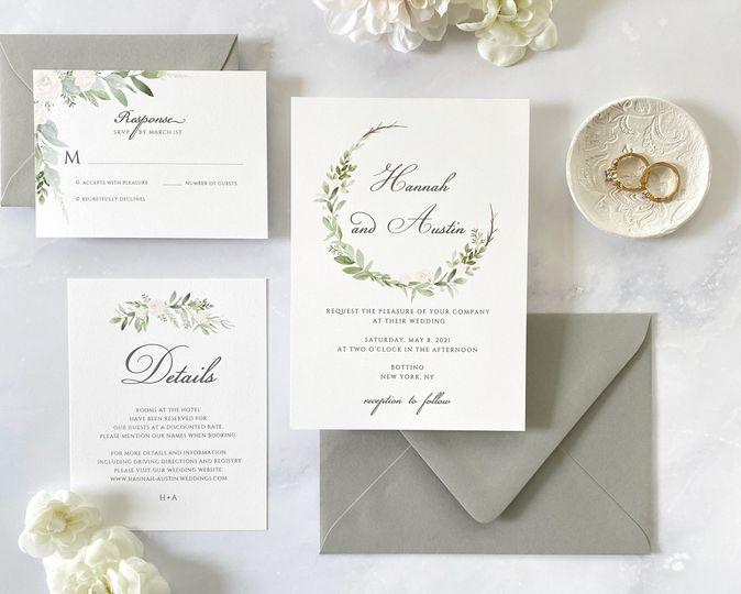 Green and white invitation sui
