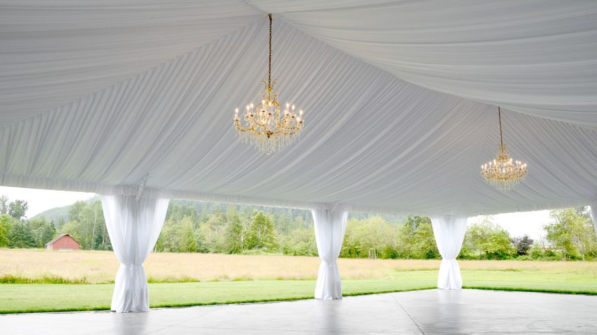 Reception tent in countryside