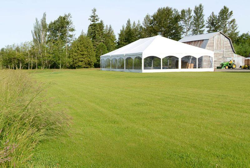 Expansive lawn surrounds tent