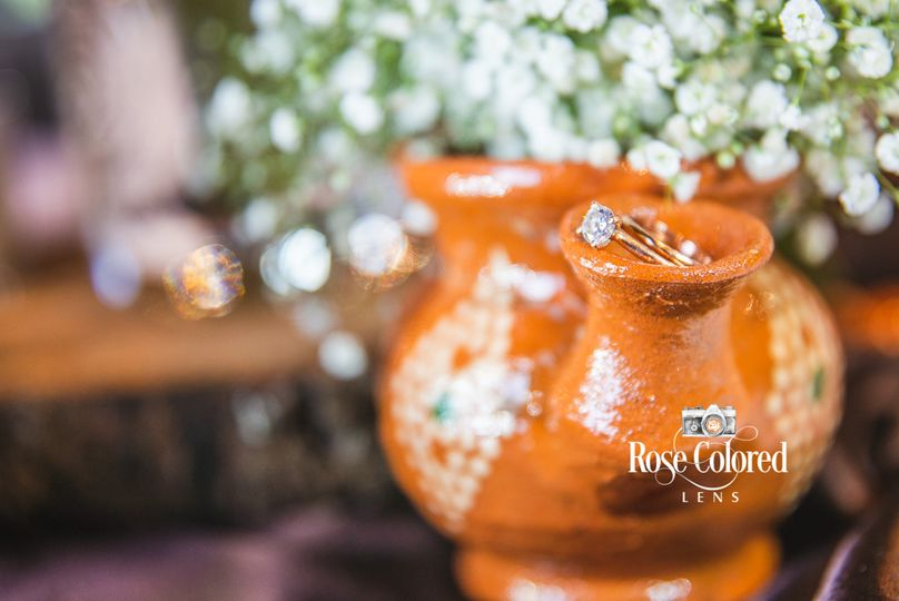 Wedding ring on mexican vase