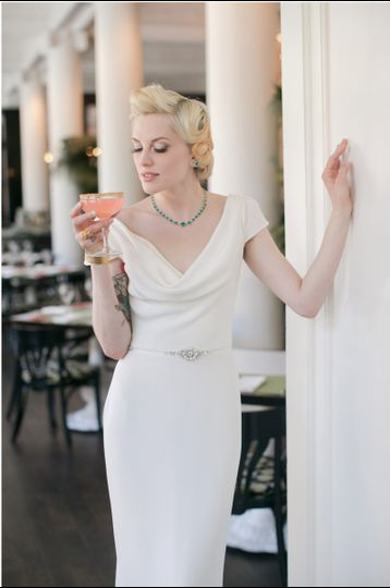 Charlotte - silk crepe cowl neck wedding gown by Trish Lee Bridal San Francisco. Reminiscent of the...