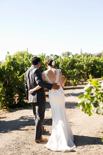 Marie - backless lace wedding dress with cap sleeves by Trish Lee Bridal San Francisco in custom...