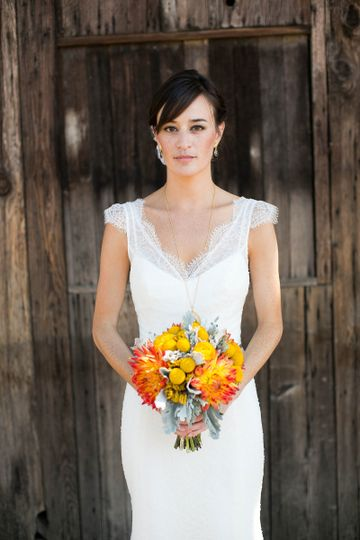 Marie - sheer illusion v-neck lace wedding dress with cap sleeves by Trish Lee Bridal San Francisco...