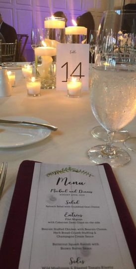 Table Number and Menu Card