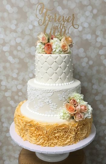 Ruffles & quilt wedding cake