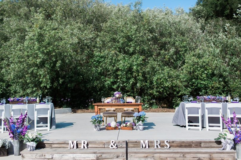Sweetheart table and reception tables