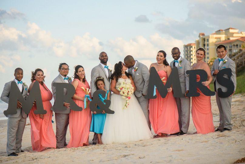 A jubilant wedding party