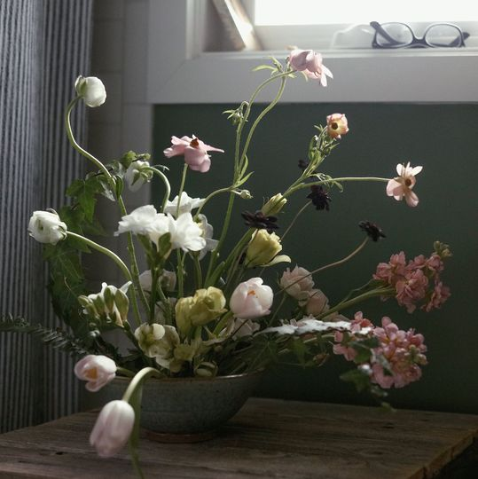Ikebana inspired centerpiece