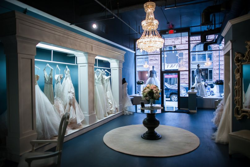 Wedding gowns in the store