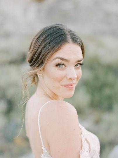 Natural bride eyes open