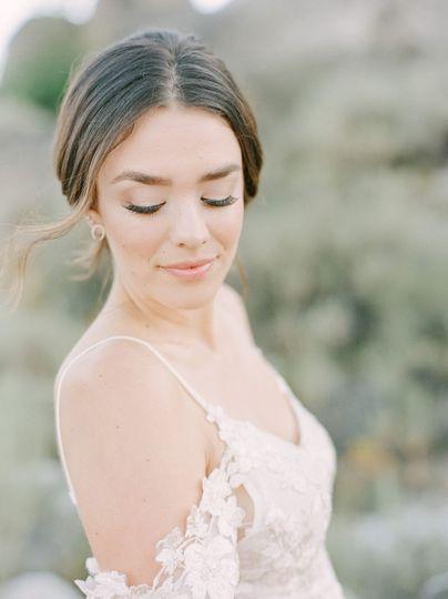 Natural bride eyes closed