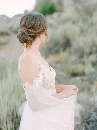 Low bun bridal updo