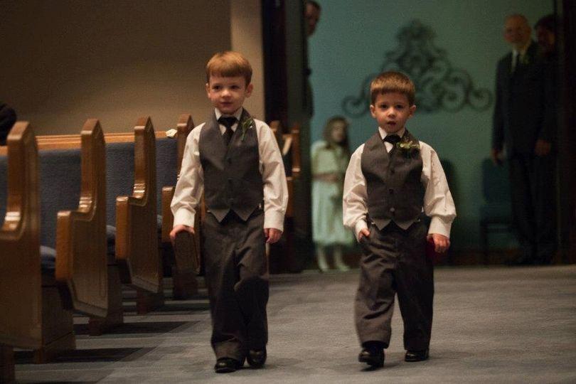 Two boys wearing tux