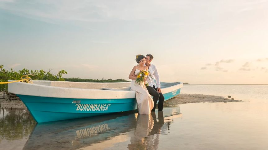 Couple in water boat