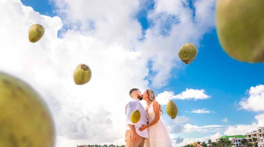 Couple with coconuts