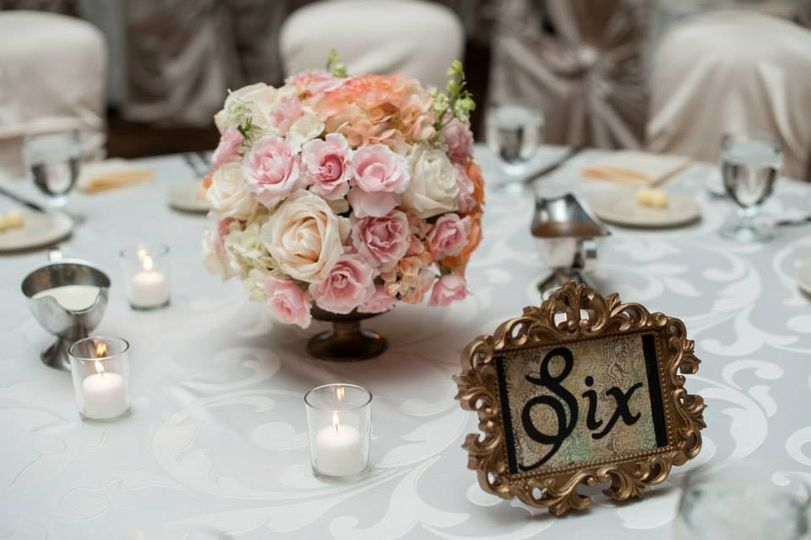 Floral centerpiece and table number