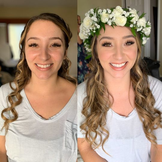 Beautiful bride before/after