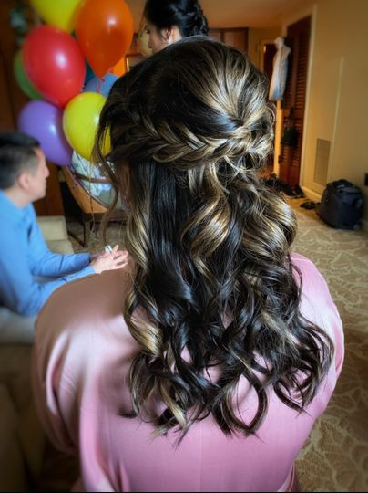 Fishtail halfup/halfdown hair