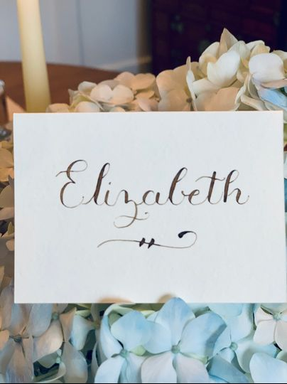Place card with walnut ink