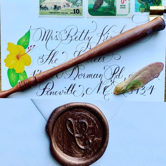 Envelope with walnut ink and wax seal