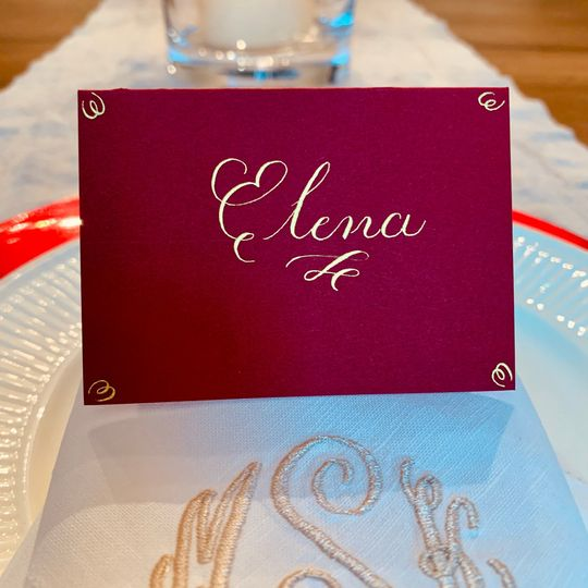 Place card with Arabic gold ink
