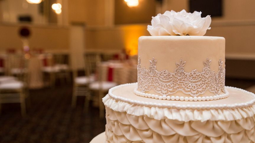 A delicately decorated cake