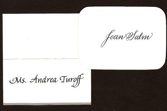 Script and italic placecards