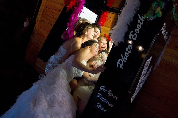 Bride and bridesmaids at the booth