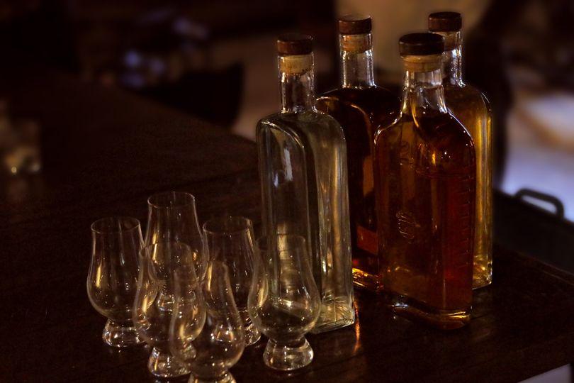 Rum, gin, vodka, whisky flight