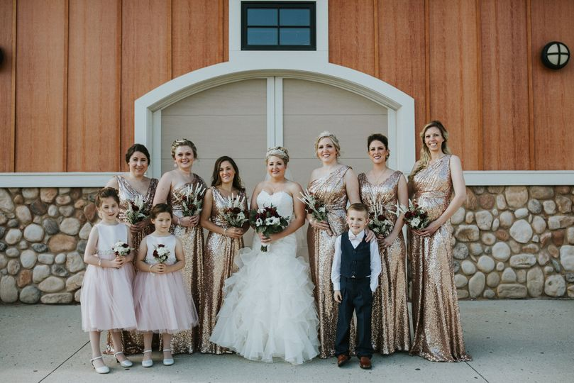 Bride with wedding attendants