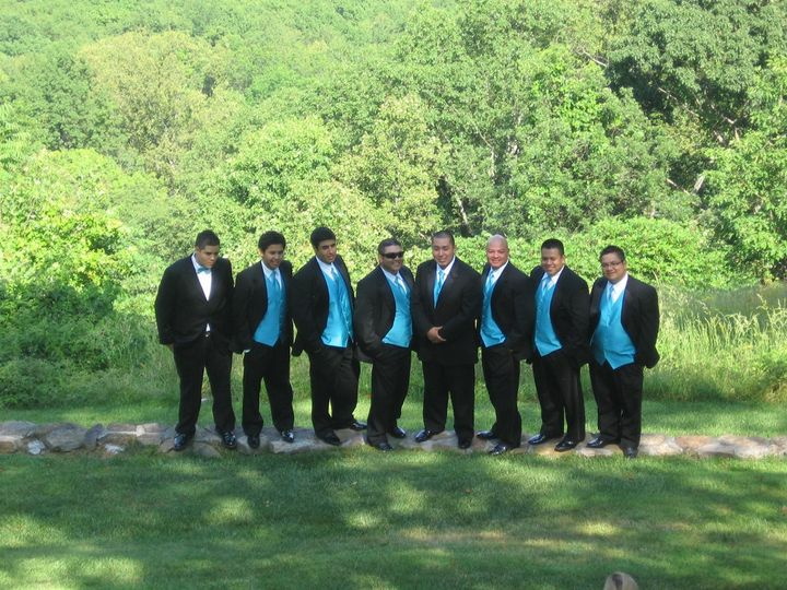 The groom with the groomsmen